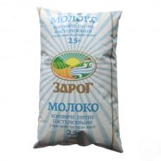 Молоко ТМ Зарог 2,5%  900г (договор)